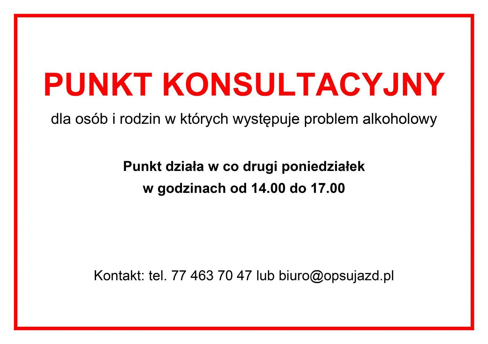 Punkt konsultacyjny dla osób i rodzin, w których występuje problem alkoholowy